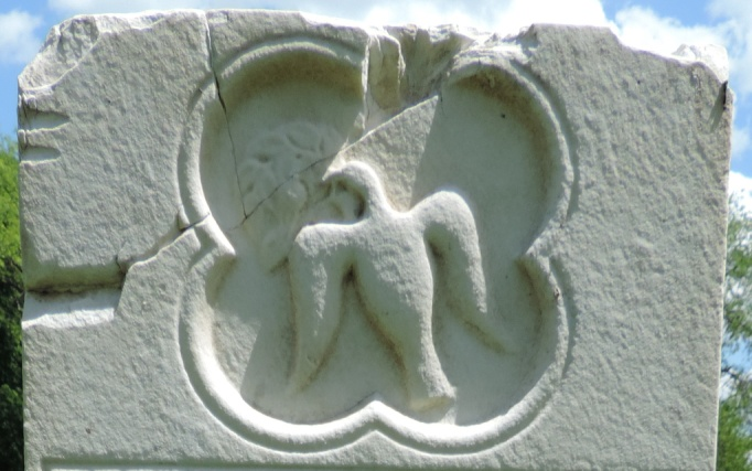 C:\Users\Vern\Pictures\Historical\Fort Hill Cemetery\COMBINED FORT HILL PHOTOS\Fort Hill gravestone symbols\Dove w Olive Brank - Marie Freeman.jpg