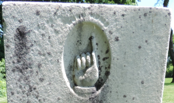 C:\Users\Vern\Pictures\Historical\Fort Hill Cemetery\COMBINED FORT HILL PHOTOS\Fort Hill gravestone symbols\Finger up Gone Home - Horatio White.JPG