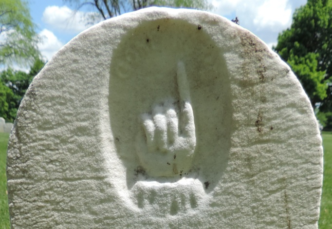 C:\Users\Vern\Pictures\Historical\Fort Hill Cemetery\COMBINED FORT HILL PHOTOS\Fort Hill gravestone symbols\Finger up Gone Home - Lena Race.JPG