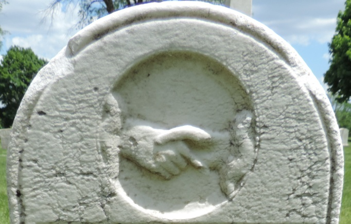 C:\Users\Vern\Pictures\Historical\Fort Hill Cemetery\COMBINED FORT HILL PHOTOS\Fort Hill gravestone symbols\Handshake - Jared Crosby.jpg