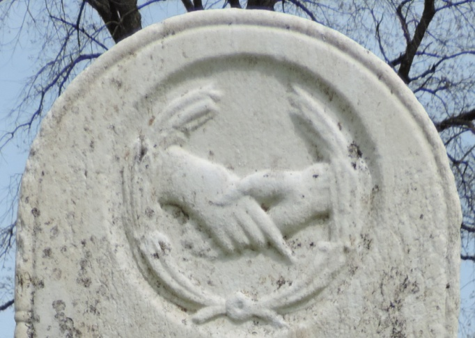C:\Users\Vern\Pictures\Historical\Fort Hill Cemetery\COMBINED FORT HILL PHOTOS\Fort Hill gravestone symbols\Handshake - Subrina Goodale.jpg