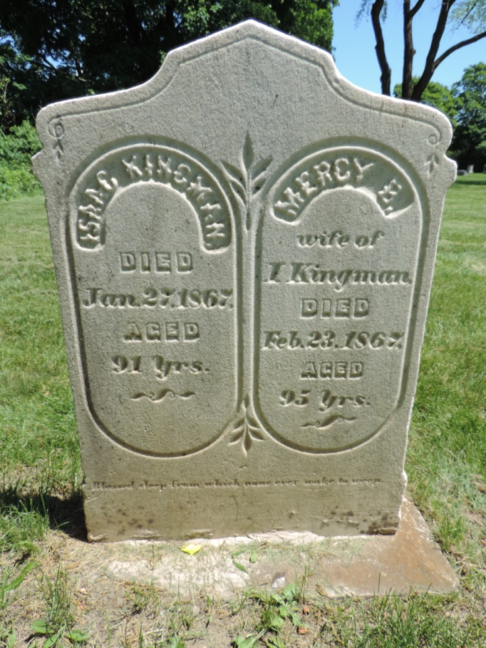 C:\Users\Vern\Pictures\Historical\Fort Hill Cemetery\COMBINED FORT HILL PHOTOS\Fort Hill gravestone symbols\Olive Branch - Isaac and Mercy Kingman.JPG