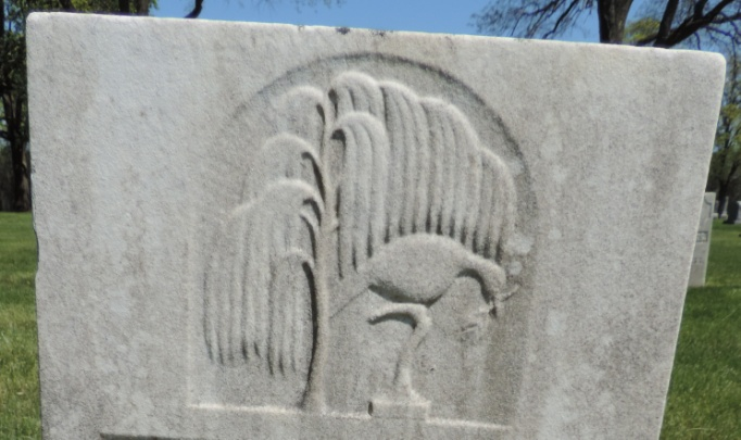 C:\Users\Vern\Pictures\Historical\Fort Hill Cemetery\COMBINED FORT HILL PHOTOS\Fort Hill gravestone symbols\Willow Tree w Dove - William Devoe.jpg