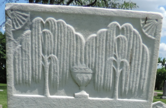 C:\Users\Vern\Pictures\Historical\Fort Hill Cemetery\COMBINED FORT HILL PHOTOS\Fort Hill gravestone symbols\Willow Trees 2 w Vase - Clarissa Davis.jpg