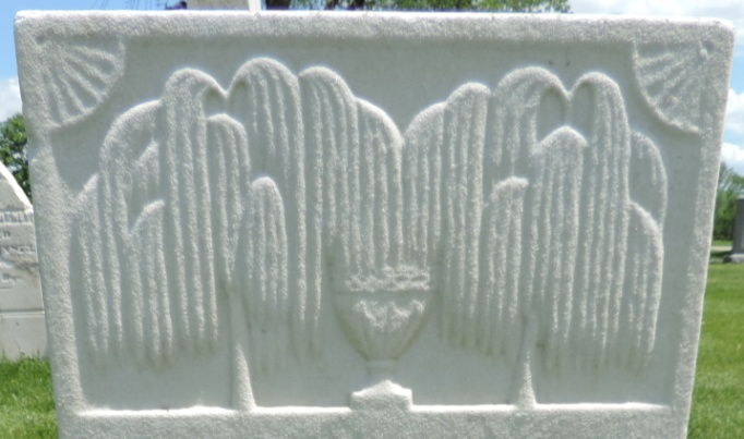 C:\Users\Vern\Pictures\Historical\Fort Hill Cemetery\COMBINED FORT HILL PHOTOS\Fort Hill gravestone symbols\Willow Trees 2 w Vase - Lemuel Davis.jpg