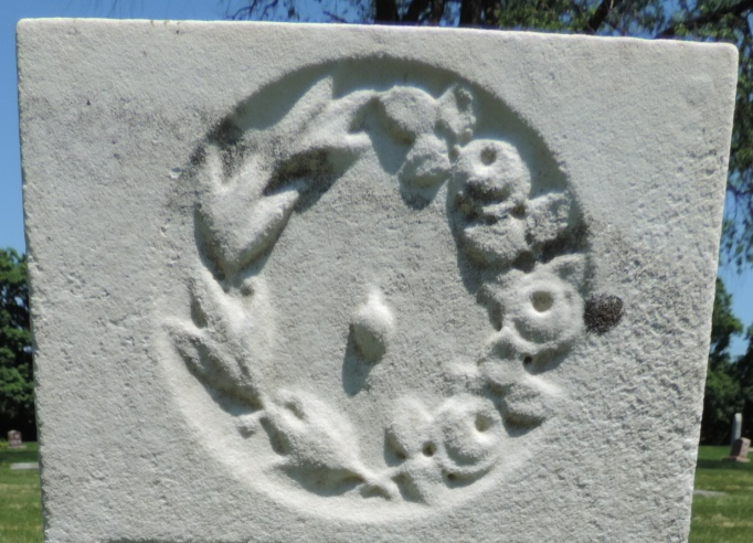 C:\Users\Vern\Pictures\Historical\Fort Hill Cemetery\COMBINED FORT HILL PHOTOS\Fort Hill gravestone symbols\Leaves - Mary Goodale.jpg