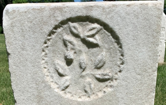 C:\Users\Vern\Pictures\Historical\Fort Hill Cemetery\COMBINED FORT HILL PHOTOS\Fort Hill gravestone symbols\Leaves - Merritt Booth.jpg
