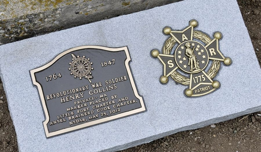 Members of the Daughters of the American Revolution from Libertyville and Waukegan and members of the Sons of the American Revolution from Lisle and Naperville in 2012 unveiled new markers to honor Revolutionary War soldier Henry Collins at Mount Rest cemetery in Wadsworth.
