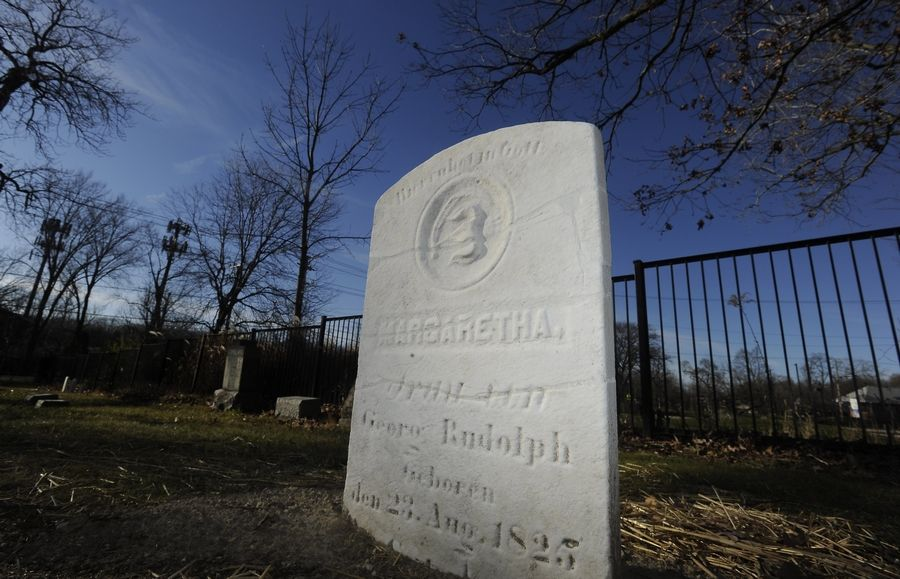 The grave marker for Margaretha Rudolph had been in several pieces before it was cleaned and repaired as part of a renewal project at Daggitt Cemetery in Highland Park.