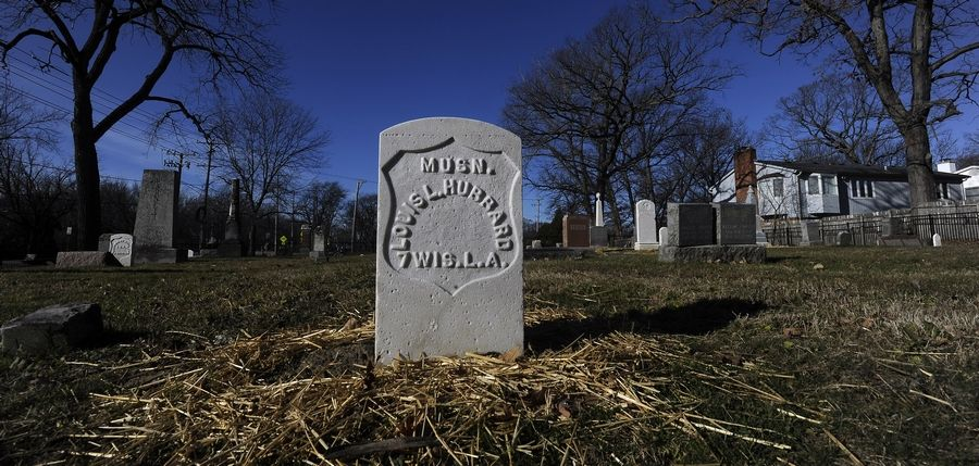 The headstone of a Civil War veteran who was a musician is among several that were cleaned and repaired as part of a multiyear plan to restore Daggitt Cemetery in Highland Park.